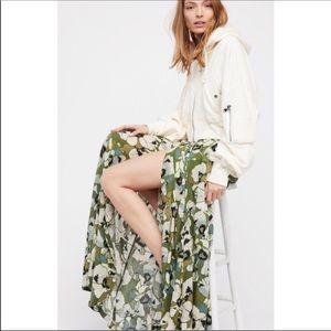 Free People Hot Tropics Green Floral Maxi Skirt